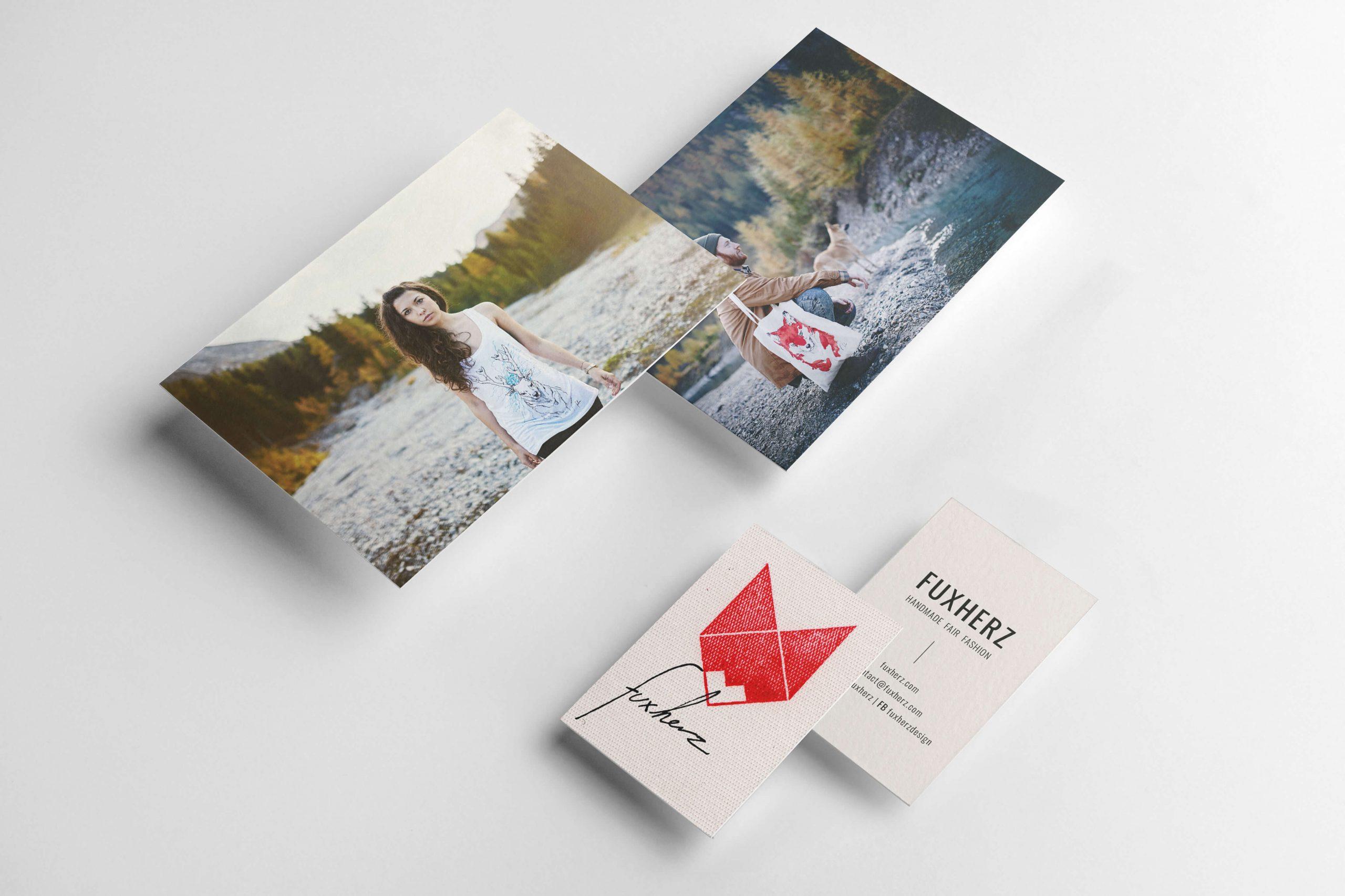 Alexandra Stalzer Grafikdesign Fuxherz wiener Modelabel nachhaltig handgefertig Postkarten und Visitenkarten